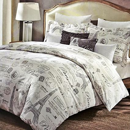5 Piece Designer Cynthia Rowley Paris Eiffel Tower KING SIZE Comforter Set