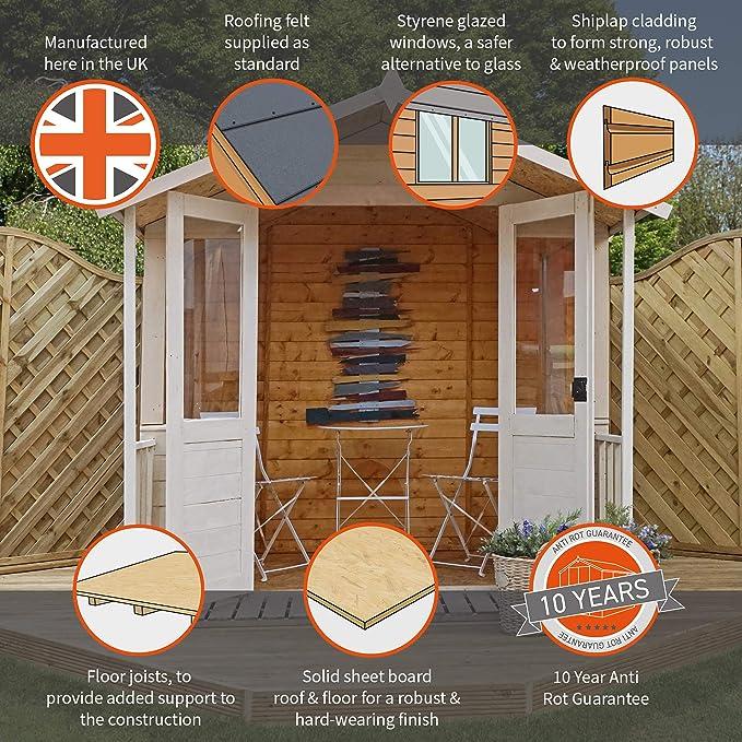 Waltons Bournemouth - Caseta de Madera traslapada (tejado a Dos Aguas, 2, 13 x 2, 13 m): Amazon.es: Jardín