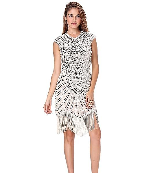 Clothin - Vestido de lentejuelas y flecos para mujer, estilo años 20, estilo «