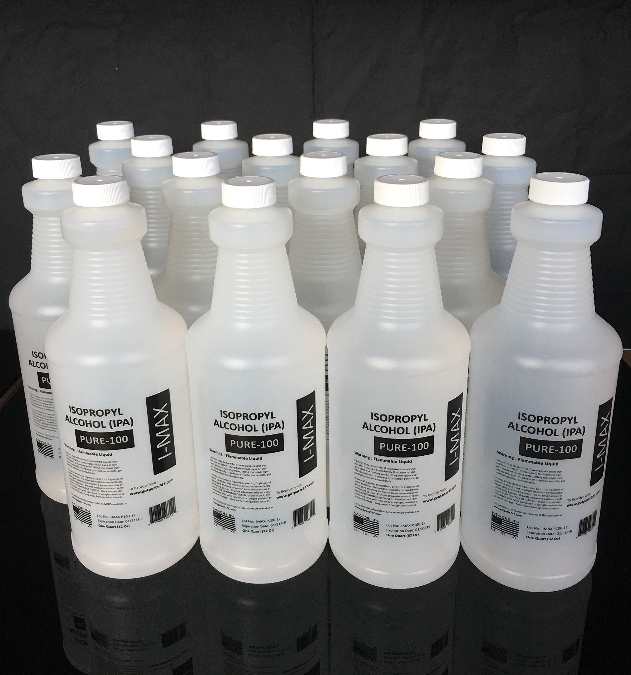 Isopropyl Alcohol 99.5+% - 4 Gallons (16 quarts) 100% Purity - Rubbing Alcohol by Imax