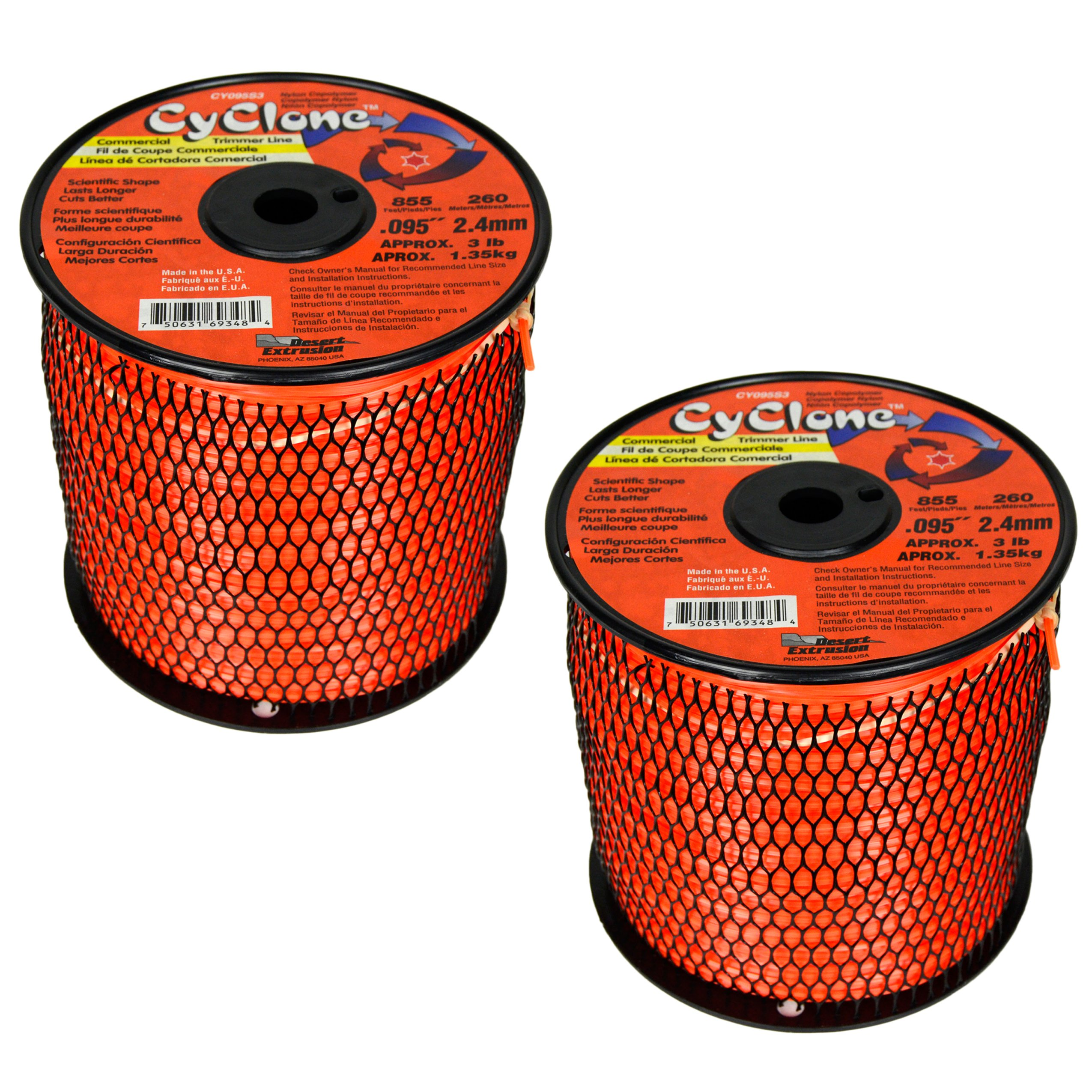 Cyclone .095-Inch 3-Pound Spool Commercial Grade 6-Blade Grass Trimmer Line, Orange CY095S3 (2 Pack)