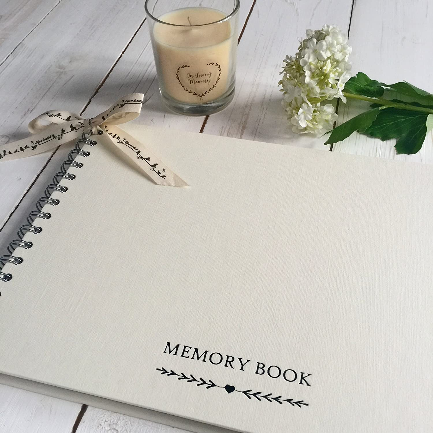 Angel & Dove A4 Memory Book for Funeral, Remembrance, Condolence, Celebration of Life