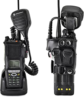 product image for Turtleback Carry Holder for Motorola XTS5000 Models 1 2 3 Radio with D Rings Attachment, Fire and Police Two Way Radio Belt Case, Black Leather Duty Belt Holster with Heavy Duty D Rings, Made in USA