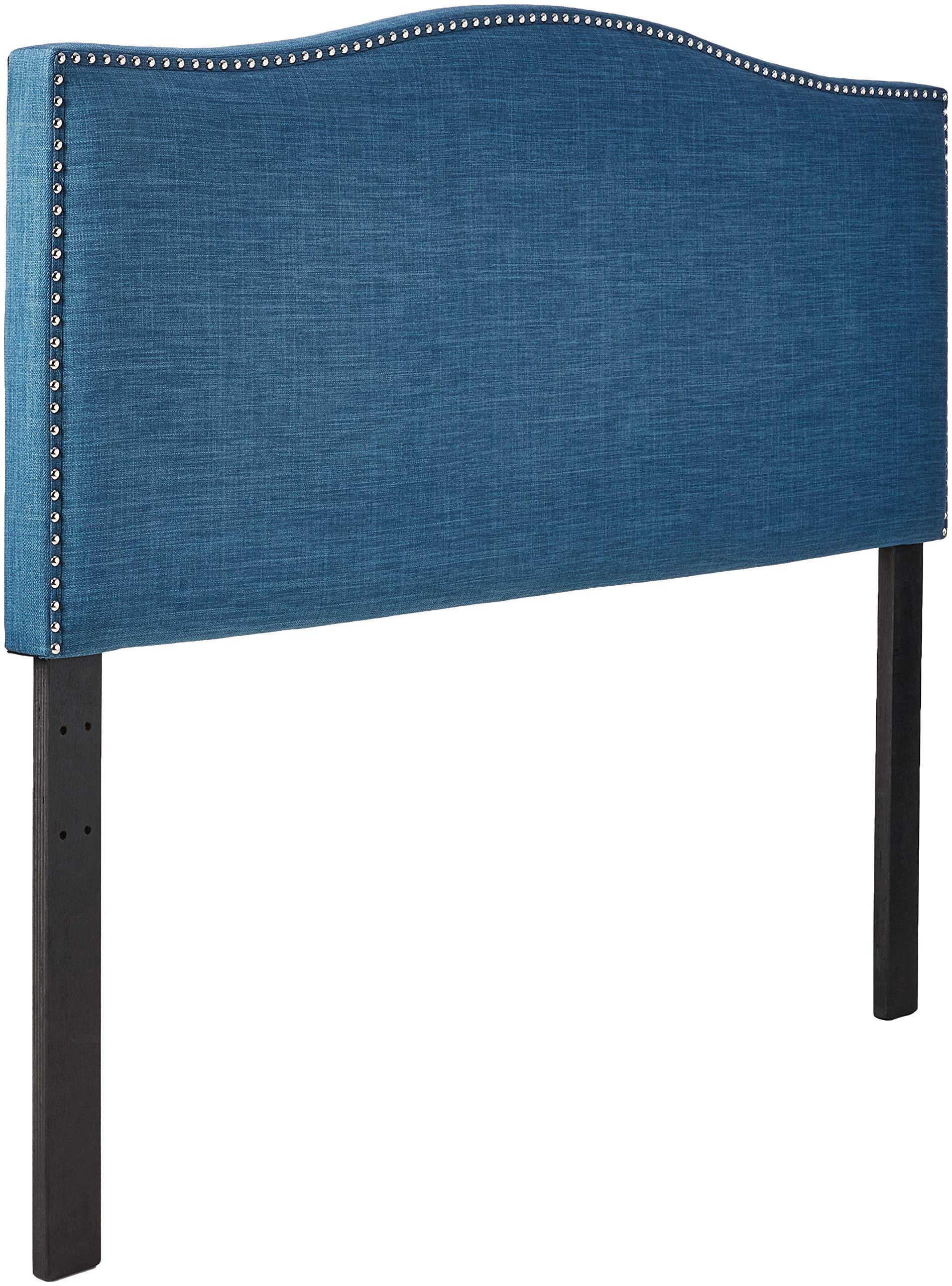 Ravenna Home Haraden Modern Curved-Top King Headboard with Nailhead Trim, 82''W, Blue by Stone & Beam