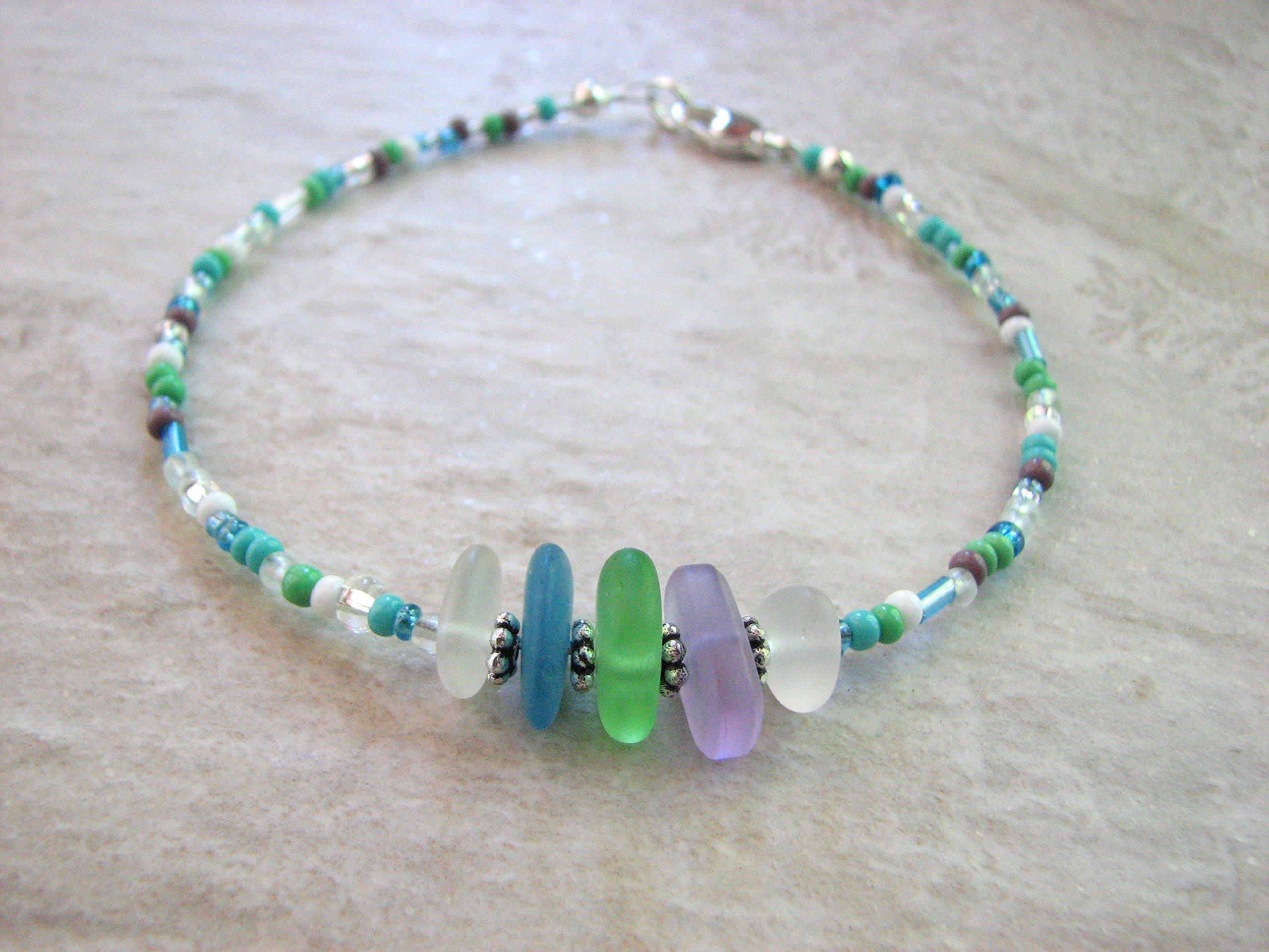 Beaded Ocean Anklet, Sea Glass Ankle Bracelet for Women