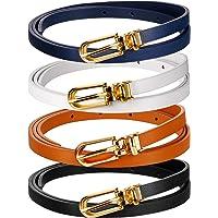 Cinturón de Cintura Flaco de Mujer Cinturón Fino de Piel Sintética de Color Sólido con Hebilla (4 Piezas, Negro, Blanco…