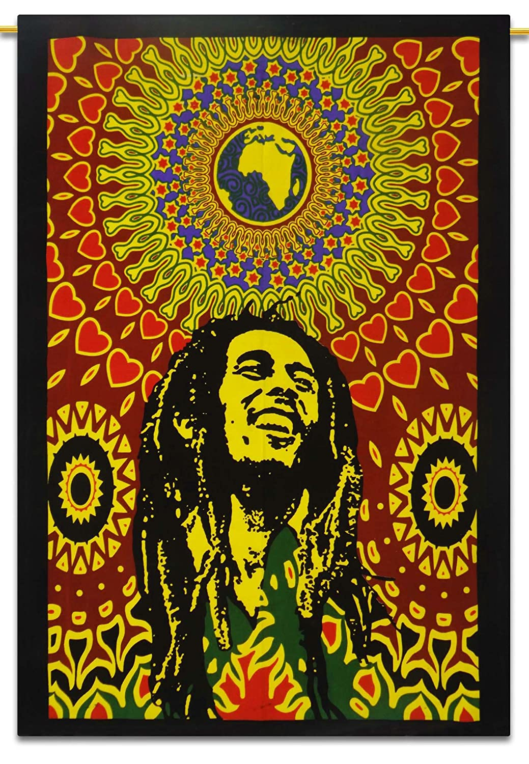 Bob Marley Cotton Indian Wall Hanging Tapestry Poster Size Muticolour Throw 42X30 Inches with Sequins