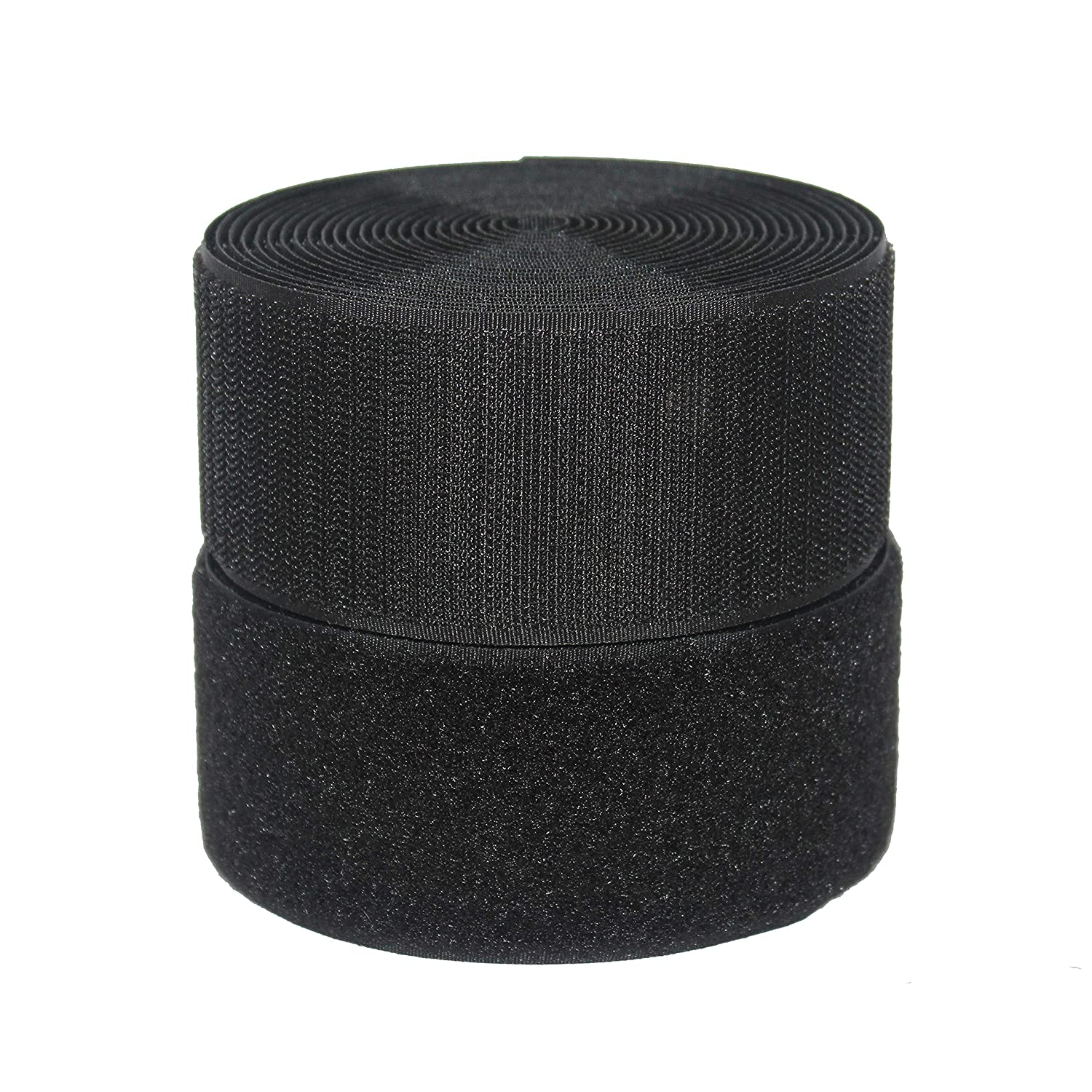 1in x 9yd HUAYY 1 Inches Width 9 Yards Length,Sew on Hook and Loop Style,Non-Adhesive Nylon Strips Fabric,Black