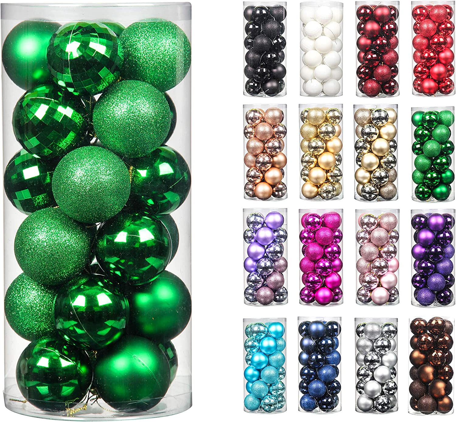 24pcs 2.36in Christmas Decoration Balls Shatterproof Color Set Ornaments Balls for Festival Wedding Home Party Decors Xmas Tree Hanging ( Green)