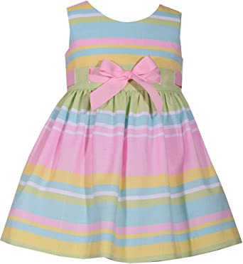 fcd01faee Amazon.com  Baby Girls Easter Dress Stripe Bow Dress  Clothing