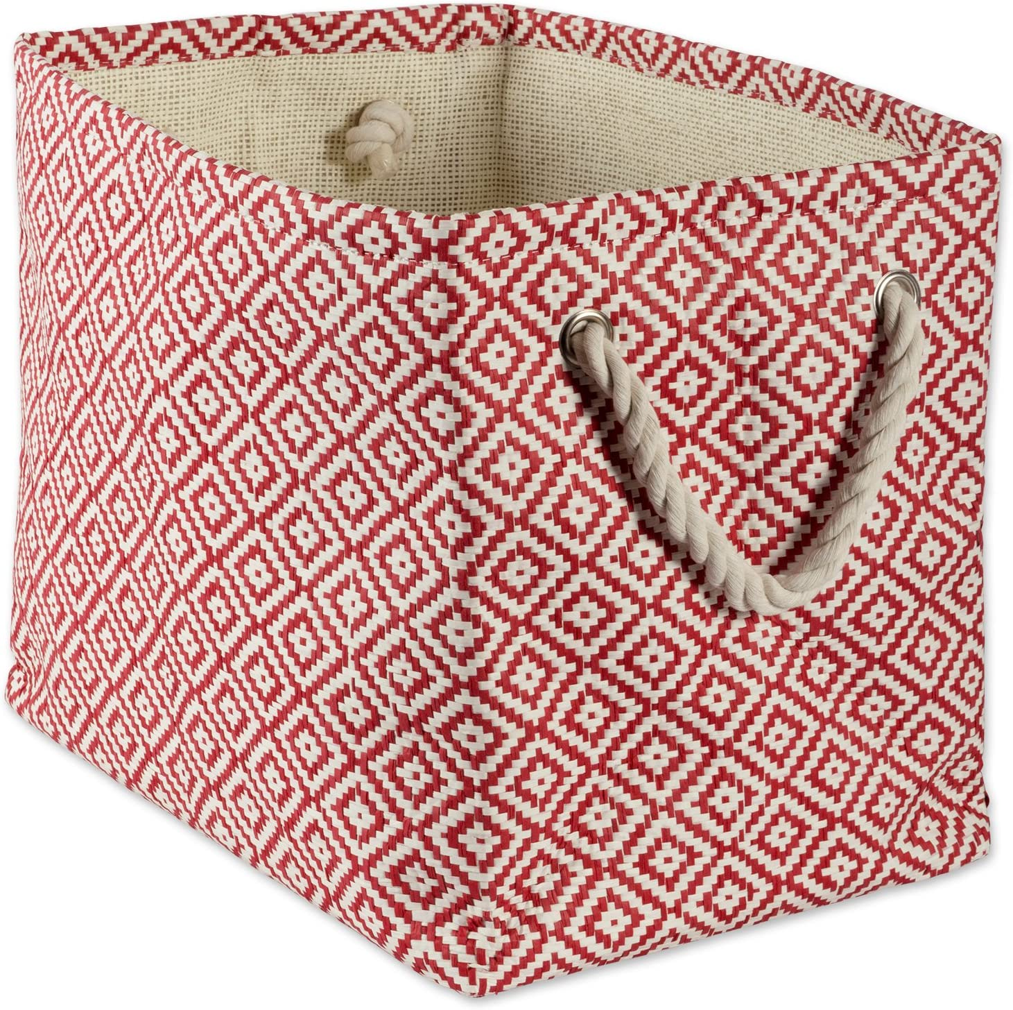 DII Geo Diamond Woven Paper Laundry Hamper or Storage Bin, Large Rectangle, Rust