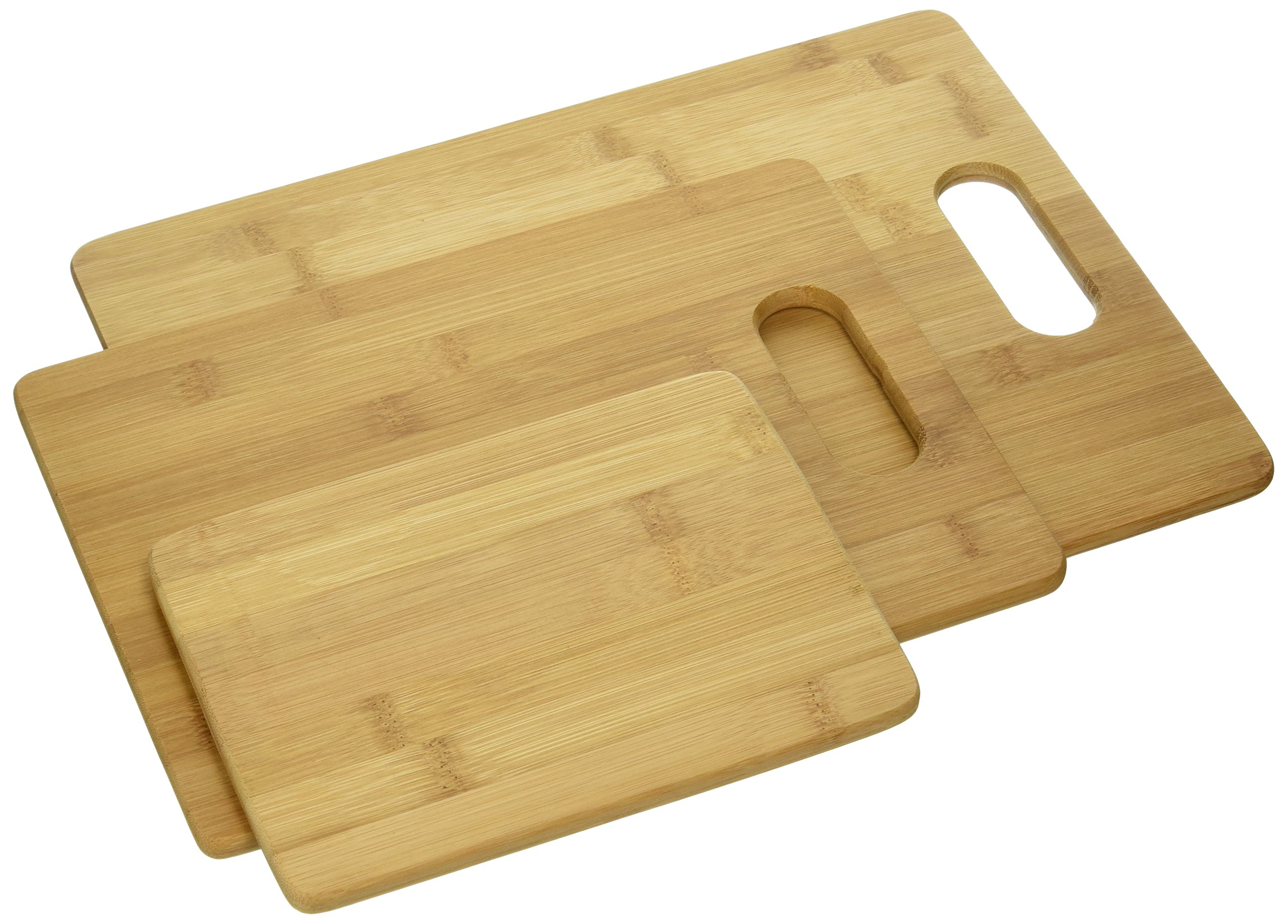 Everyday Essentials 3 Piece Cutting Cocktail Bar Board Set For Meat & Veggie Prep, Serve Bread, Crackers & Cheese, Bamboo