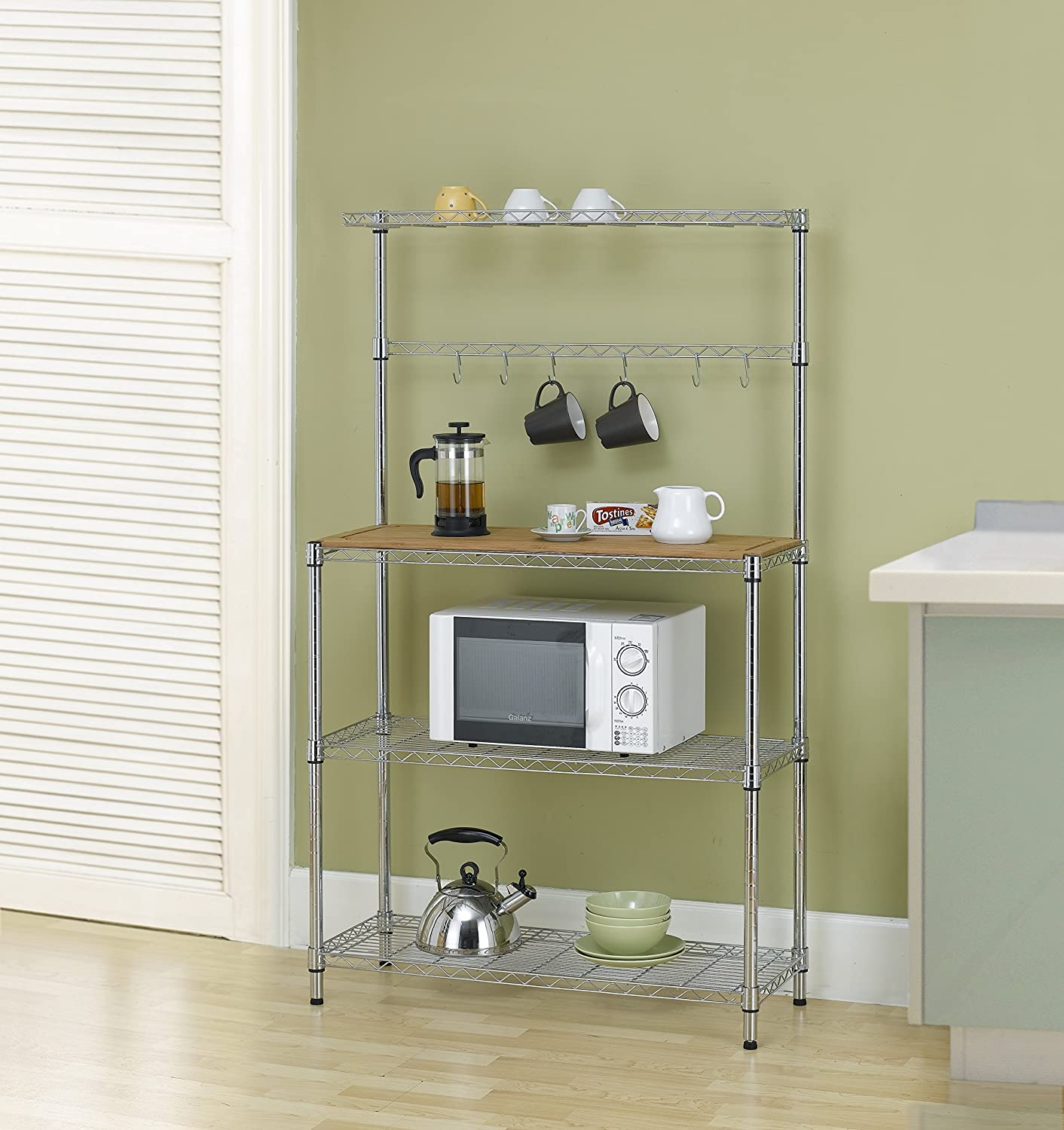 Adjustable Kitchen Rack / Cart - Chrome Shelves and Thicken Bamboo Cutting Board