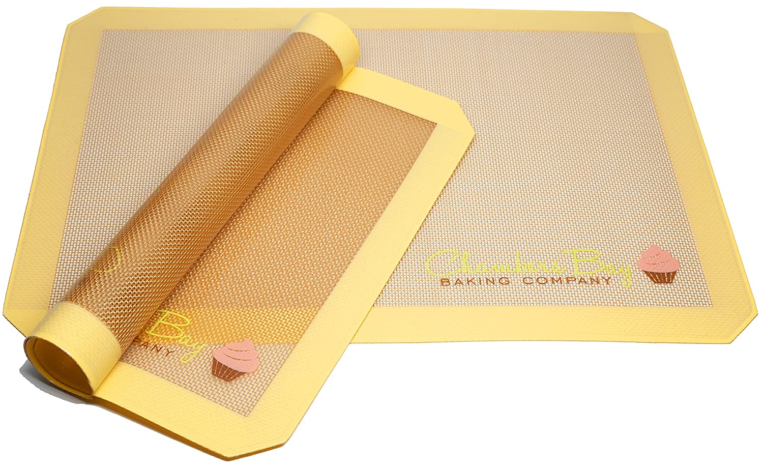 Silicone Baking Mat for Macaron- Two Half Sheet Mat Set 16.5 x 11 5/8 - Non Stick - Cookie Sheet - Baking Liner - Perfect for Oven, Pastry, Bacon, Cookies, Chicken, Pizza, Bread, Pastry Rolling
