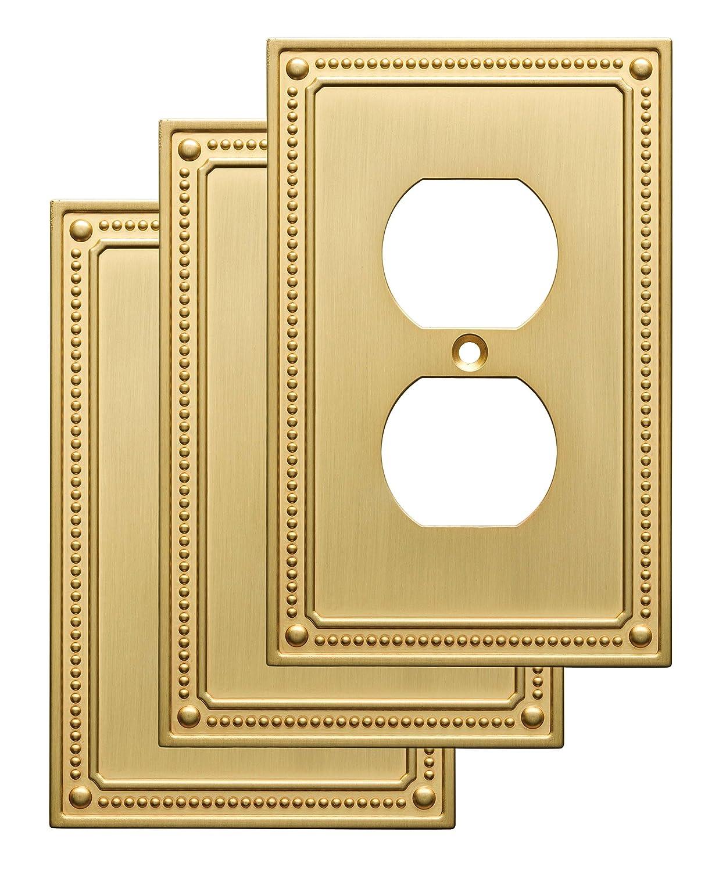 Franklin真鍮クラシックBeaded Single二重壁スイッチプレート/プレート/カバー 3 Pack ゴールド W35059V-BB-C 3 B01HGNPH9W つや消し 真鍮 3 Pack