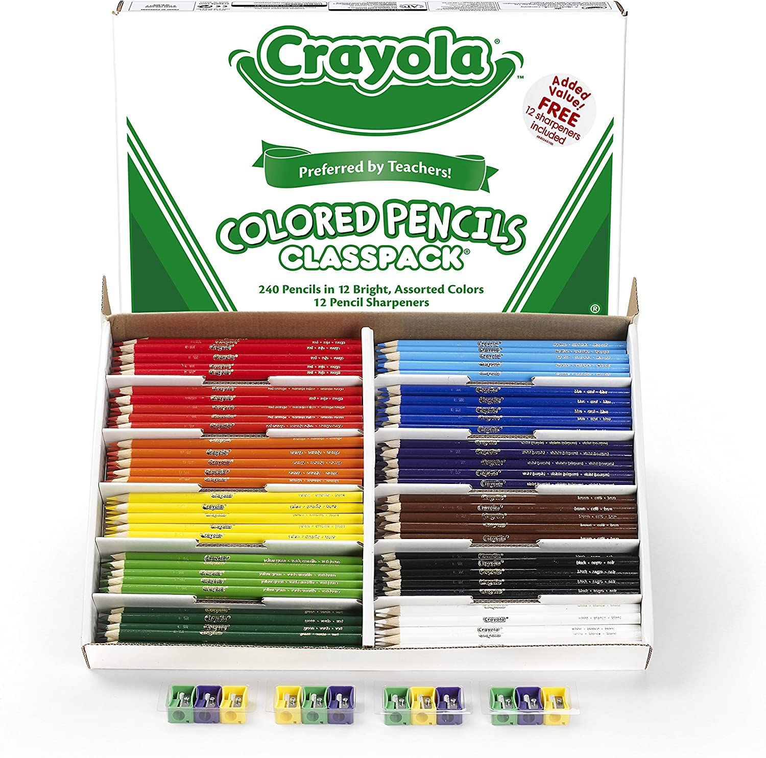 Crayola large box with colored pencils.