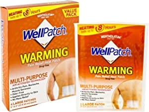 """WellPatch Warming Pain Relief Heat Patch, 4 large patches, 5""""x4"""" (13x10 cm) each"""