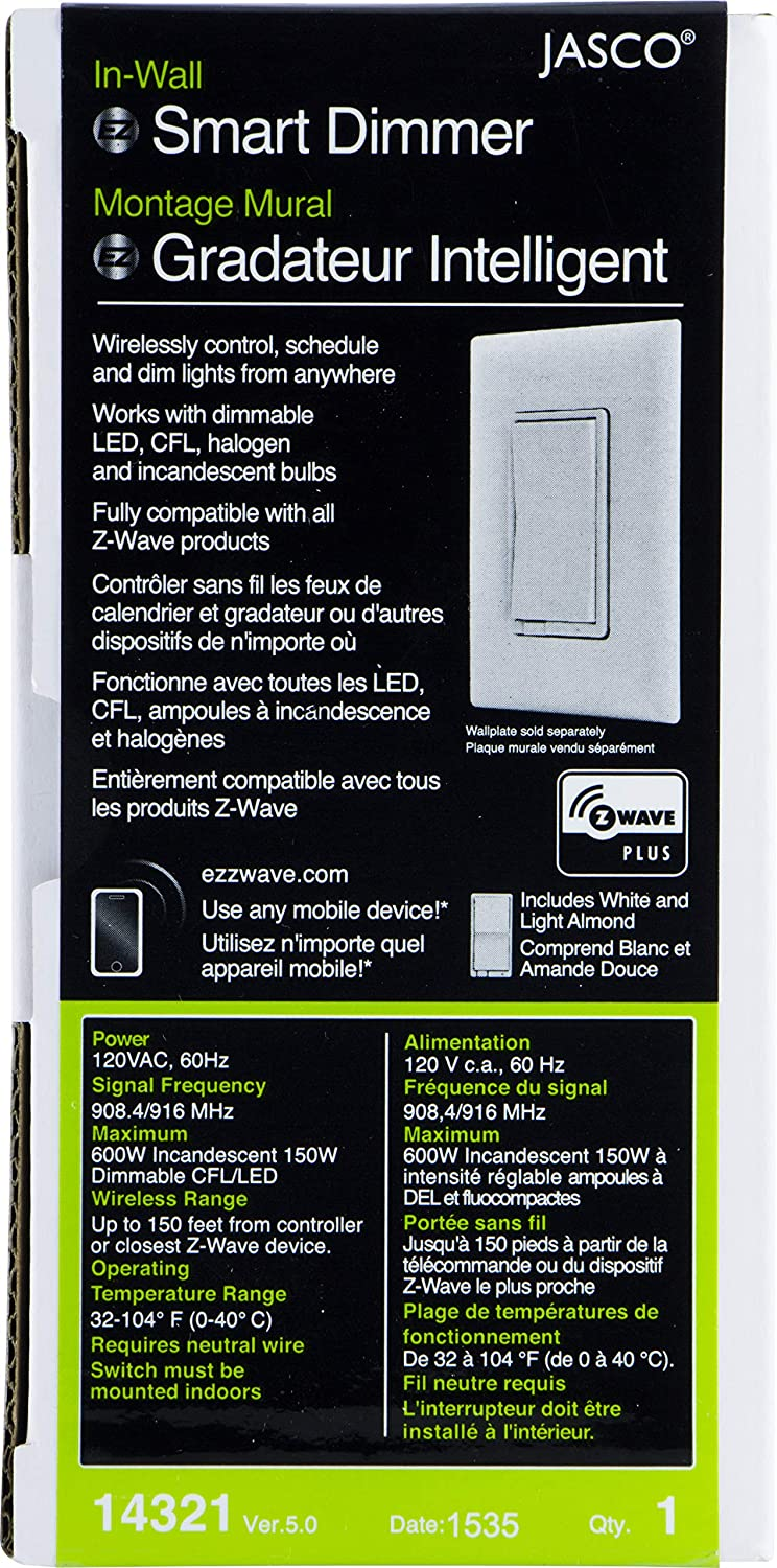 Calendrier Switch.Jasco Z Wave Plus Smart Dimmer In Wall Paddle Switch White And Light Almond Paddles Repeater Range Extender Zwave Hub Required Compatible With