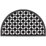 Relaxdays – Felpudo semicircular decorativo para la entrada del hogar, 0.5 x 75 x 45 cm, hecho de caucho/goma, antideslizante, Color negro