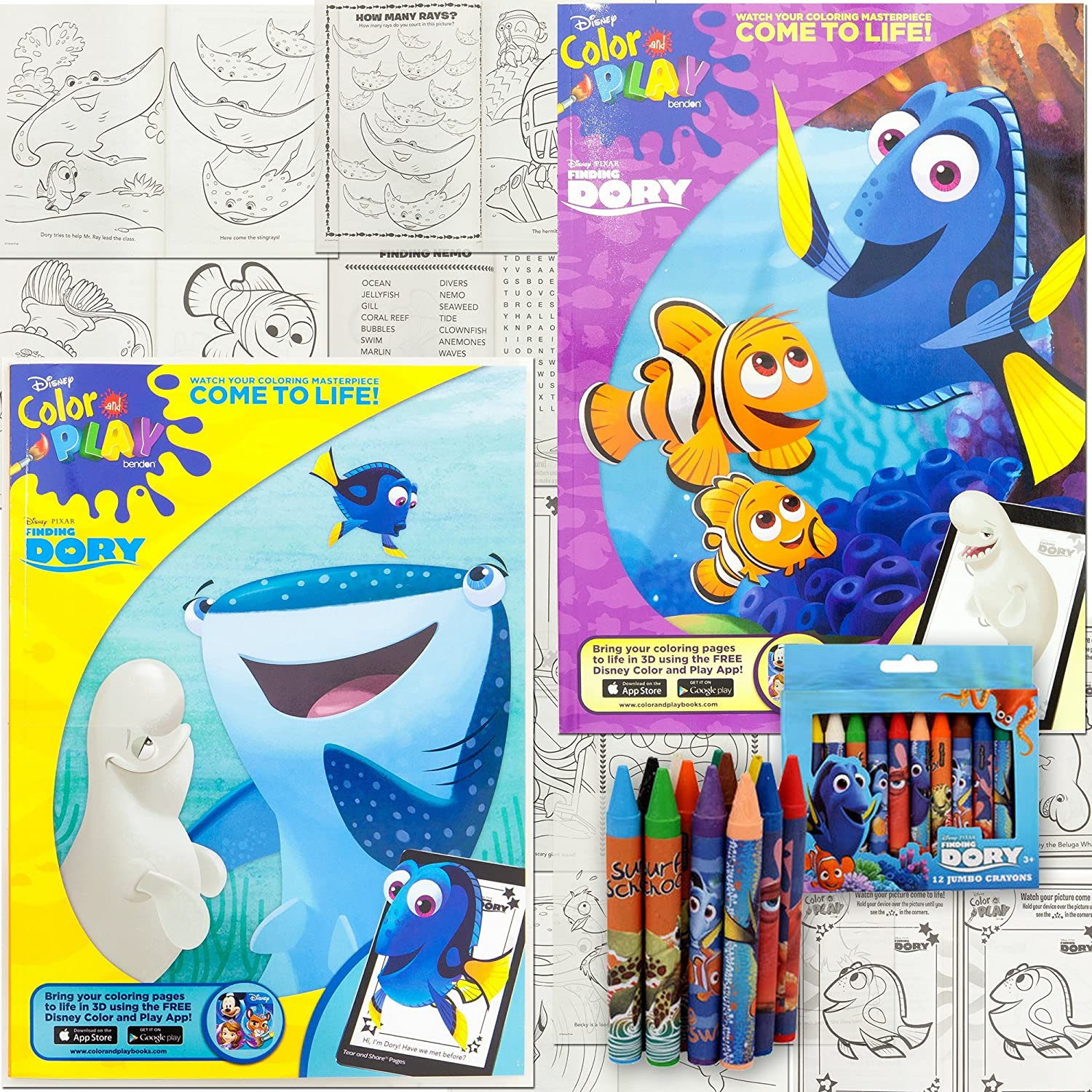 Amazon Disney Finding Dory Activity Set 2 Jumbo Coloring Book 96 Pages