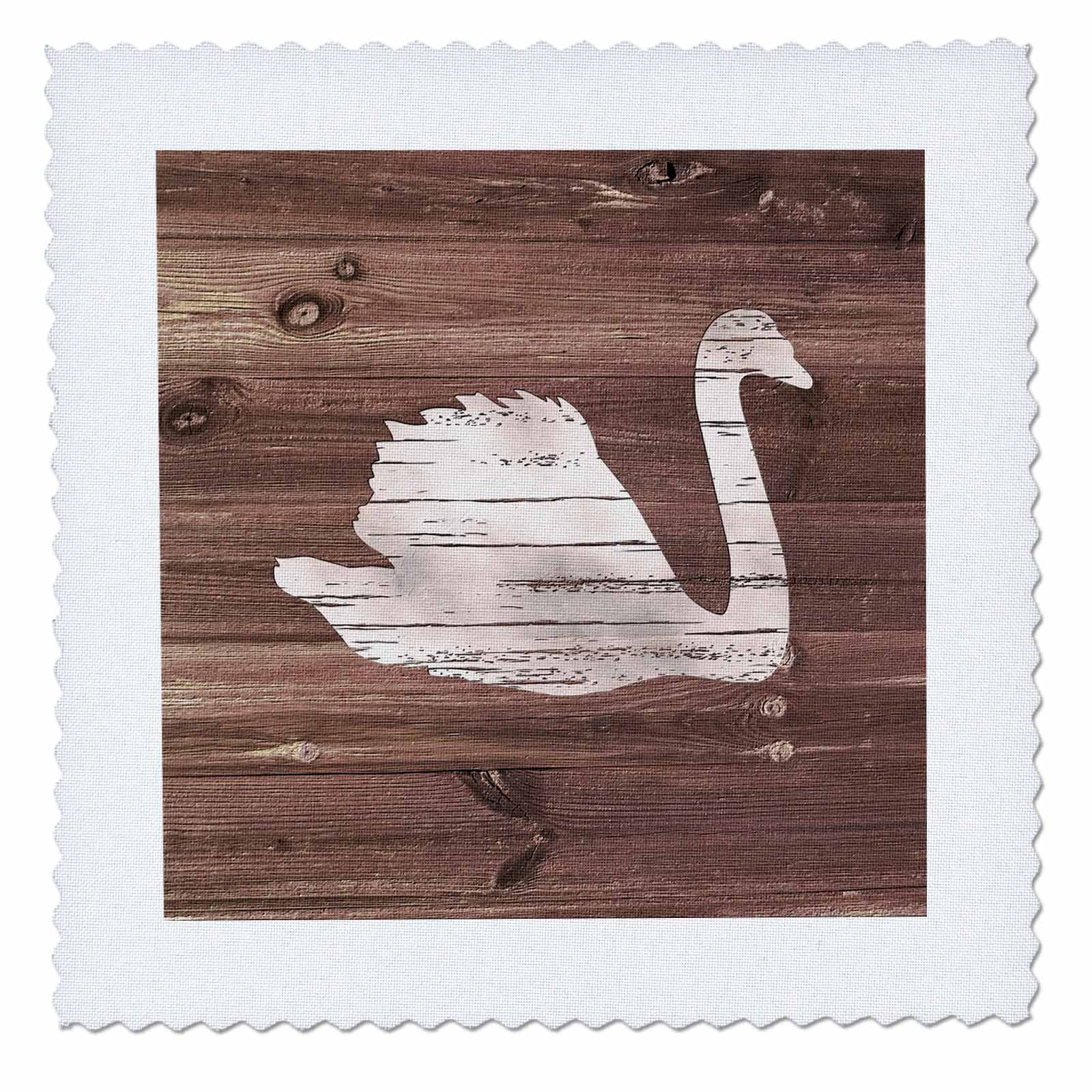 3dRose Russ Billington Designs - White Painted Swan on Brown Weatherboard- Not Real Wood - 20x20 inch quilt square (qs_261839_8)