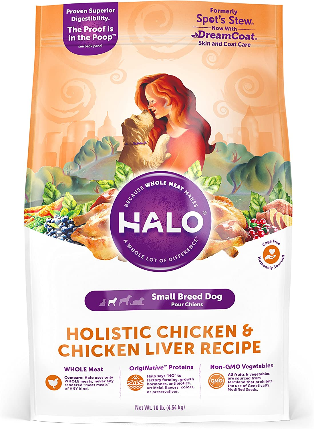 Halo Natural Dry Dog Food, Small Breed Chicken Chicken Liver Recipe