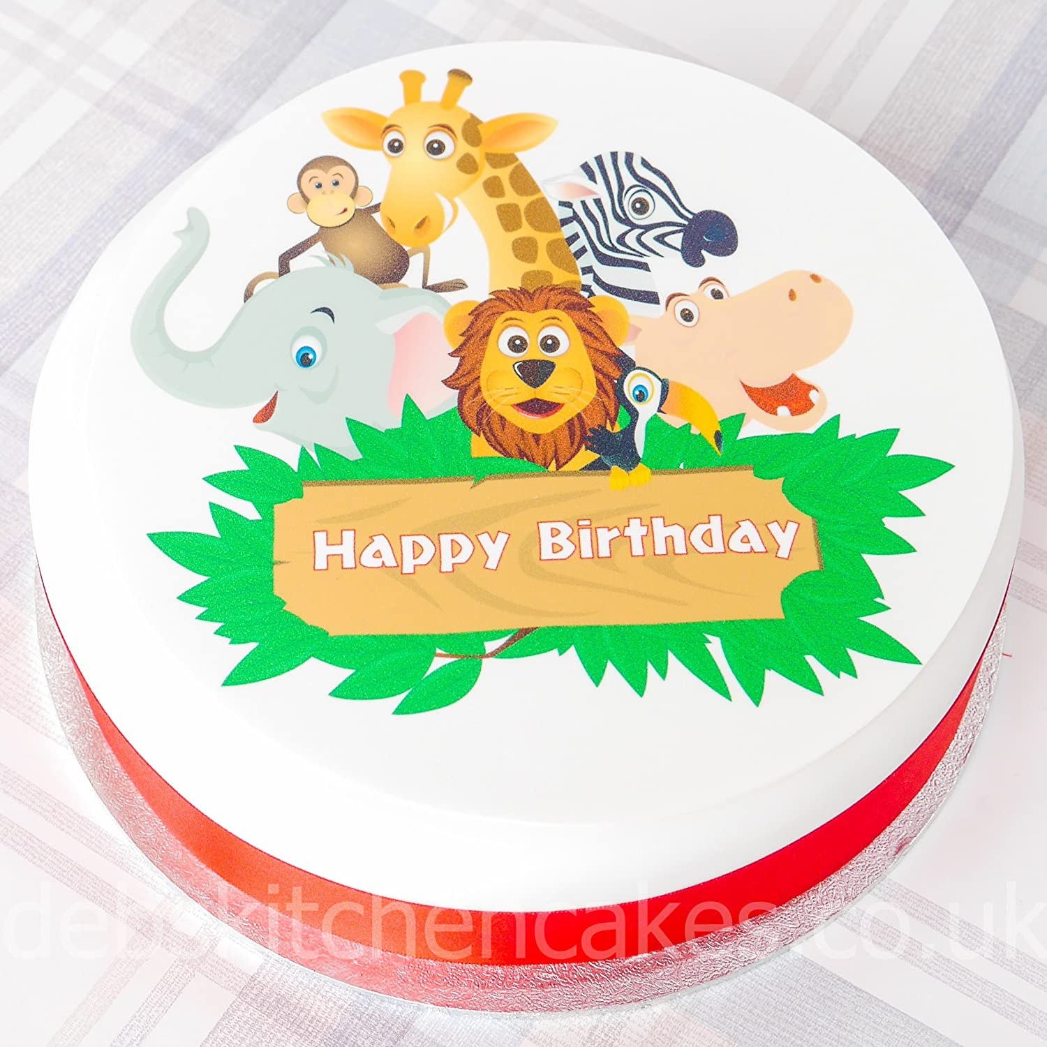 Jungle Safari Cake Topper - Happy Birthday Safari Animals Cake ...