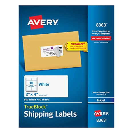 avery shipping address labels inkjet printers 500 labels 2x4 labels permanent adhesive