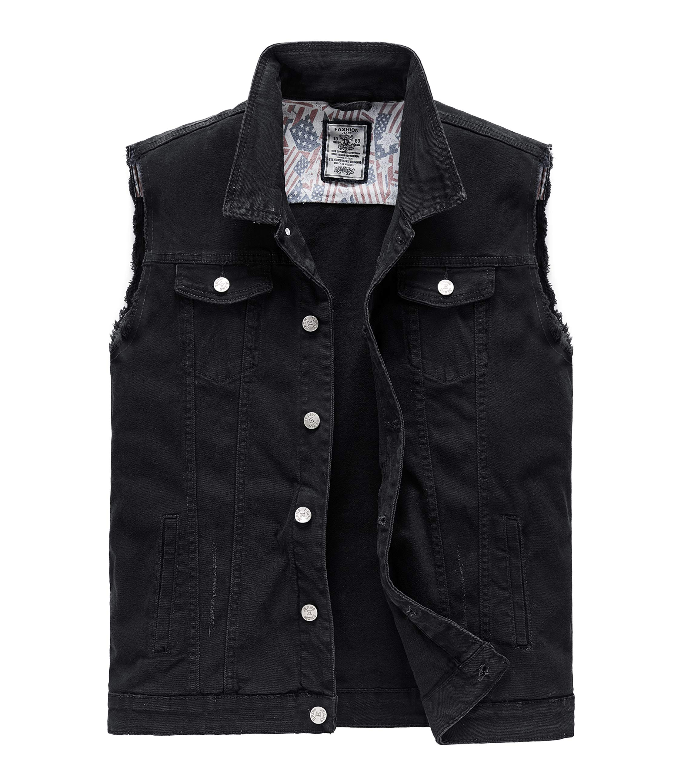 RongYue Men's Casual Button-Down Denim Vest Sleeveless Jacket with Broken Holes Black by RongYue
