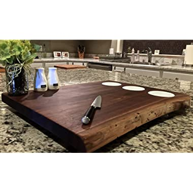 Black Walnut X Large, Forest-to-Table Double Live Edge Butcher Block with 3 Prep/Dip Bowls. Cutting/Chopping/Grazing Board. One-of-a-Kind & Exclusively Distributed. 100% Handcrafted in USA