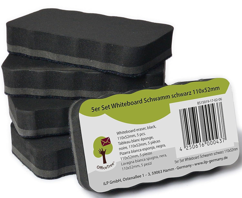 OfficeTree ® Set de 5 borradores de pizarra blanca - negros - magnéticos - limpios, secos y eficaces - Elimine de forma segura apuntes y dibujos de ...