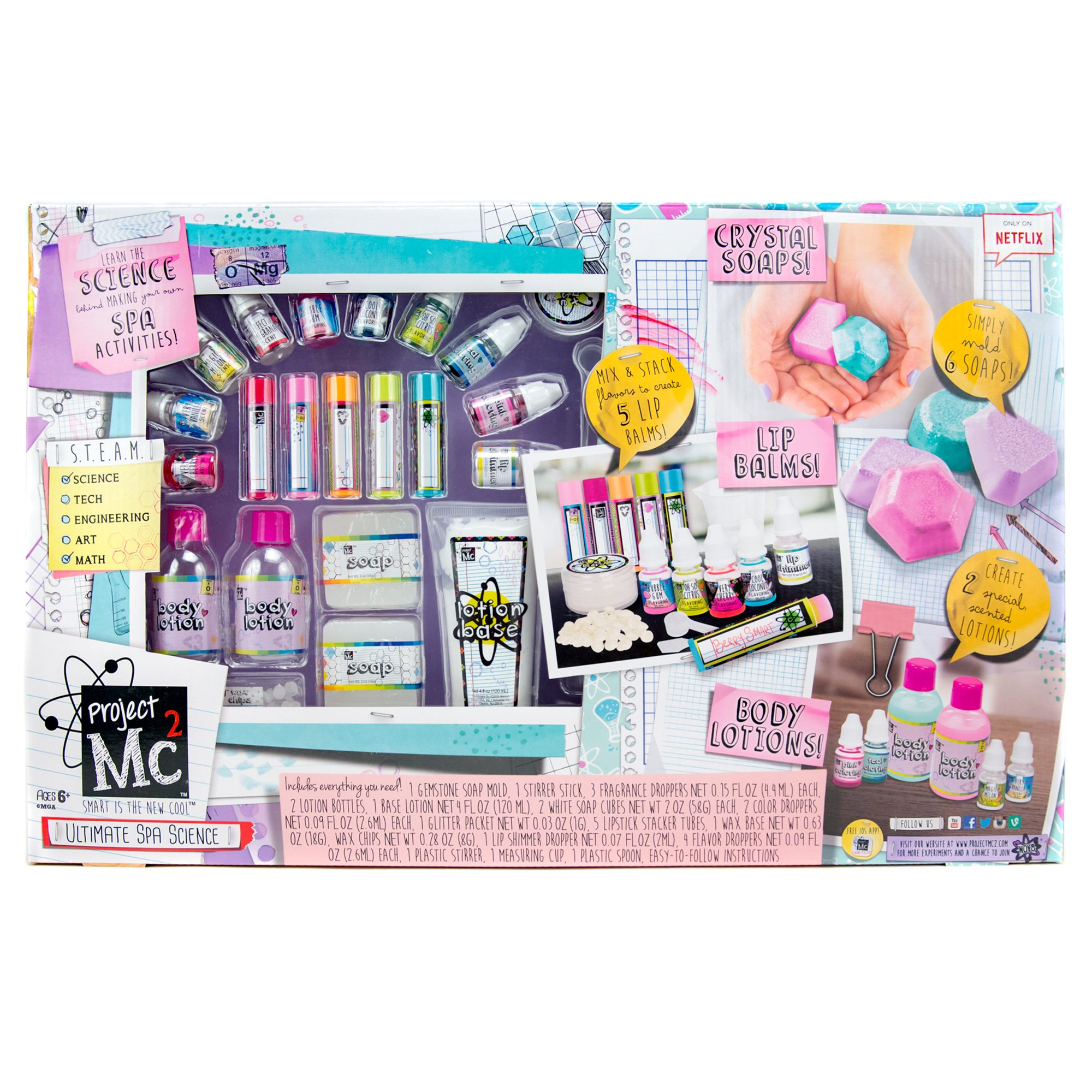 Project Mc2 Ultimate Spa Studio Stem Science Cosmetic Kit by Horizon Group USA, Make Your Own Crystal Soaps,5 DIY Lip Balms & Fragrant Body Lotions, Choose Between 6 Scents & More, Multicolored by Project Mc2