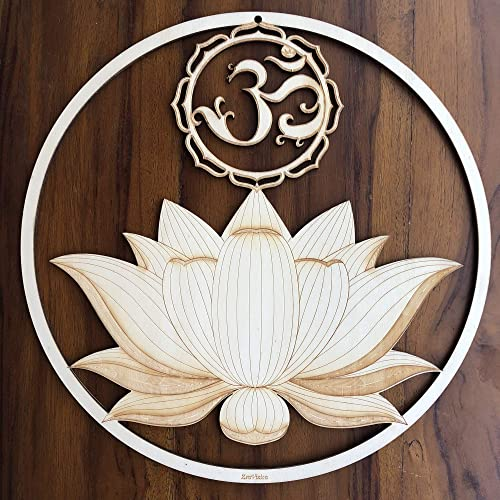 ZenVizion 13.5 Sacred Lotus Wall Art, OM Symbol, Sacred Geometry Wall Art, Wooden Wall Art Decor, Yoga Wall Art Hanging, Laser Cut Artwork, Wall Sculpture Symbol, Gift purpose