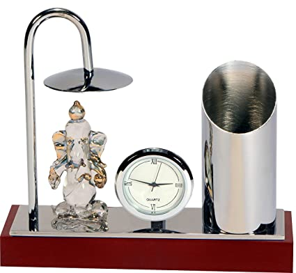 Ganesh Ji Crystal Showpiece Figurine With Umbrella, Classic Table Clock U0026  Stylish Pen Stand