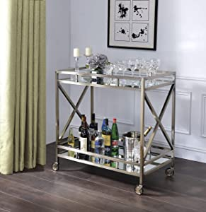 Benjara Open Metal Frame 2 Tier Mirrored Serving Cart, Antique Gold and Silver