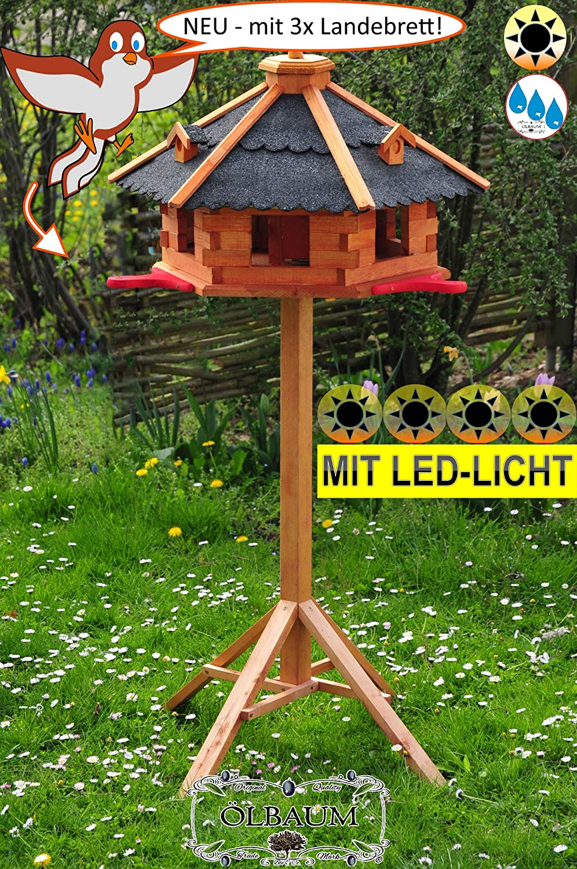 PREMIUM Vogelhaus mit Landebahn Ma LED Beleuchtung//Licht und Bitumen