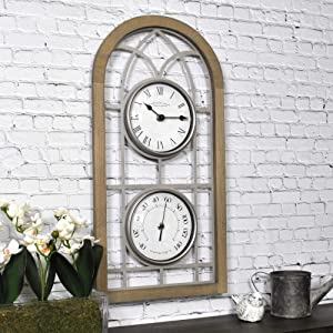 """FirsTime & Co. Farmhouse Arch Outdoor Clock, 20""""H x 10""""W, Rustic Brown, Antique Silver"""