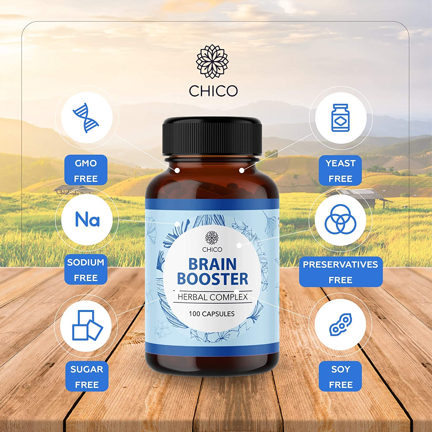 Chico Brain Booster Herbal Complex - Natural Dietary Supplement - Ginkgo Biloba, Bacopa, Panax Ginseng, Sage, St. John's Wort - May Help Support Brain, Heart, & Immune System Function - 100 Capsules
