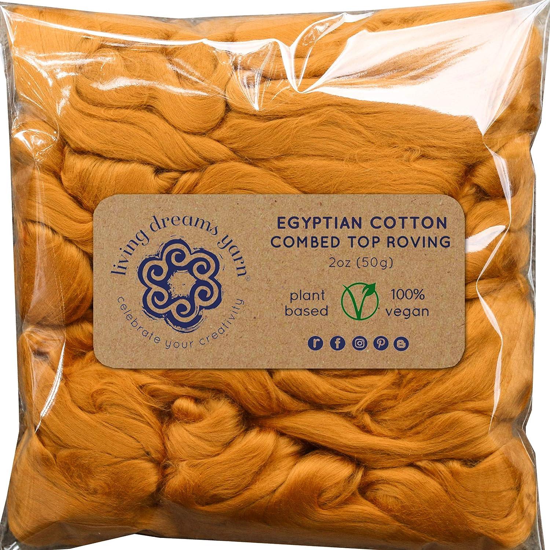 Cotton Fiber for Spinning, Blending, Felting & Fiber Arts. Soft Vegan Combed Top. Rust Living Dreams Yarn FibVegCottRust