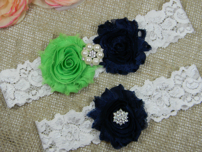 Lime Green and Navy Blue Garter, Wedding Garter Set, Bridal Garter Belt, Keepsake and Toss Stretch Lace Garters