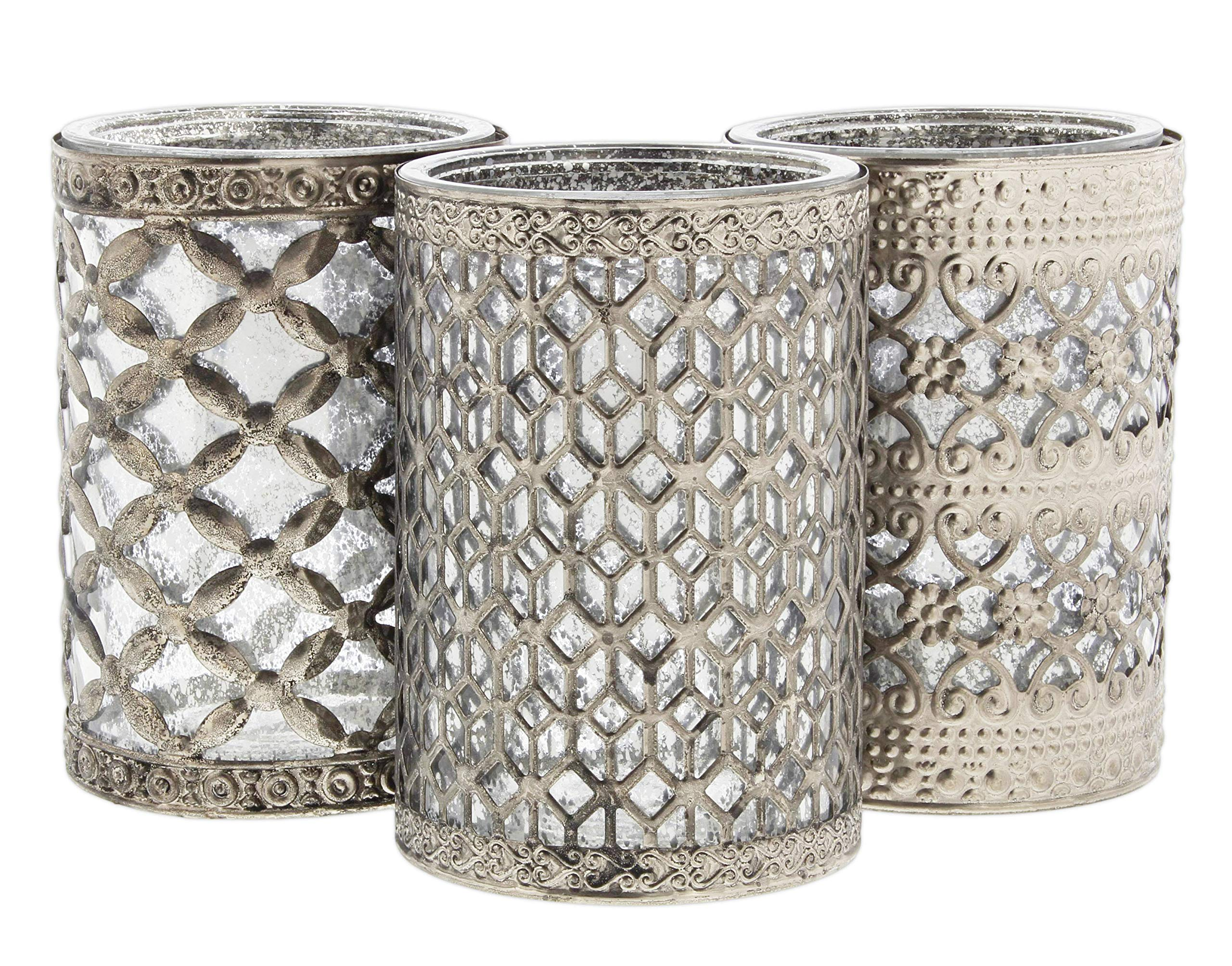 Lucky Winner Antique Style Round Silver Metal Glass Candle Holders, 4.75'' - Set of 3
