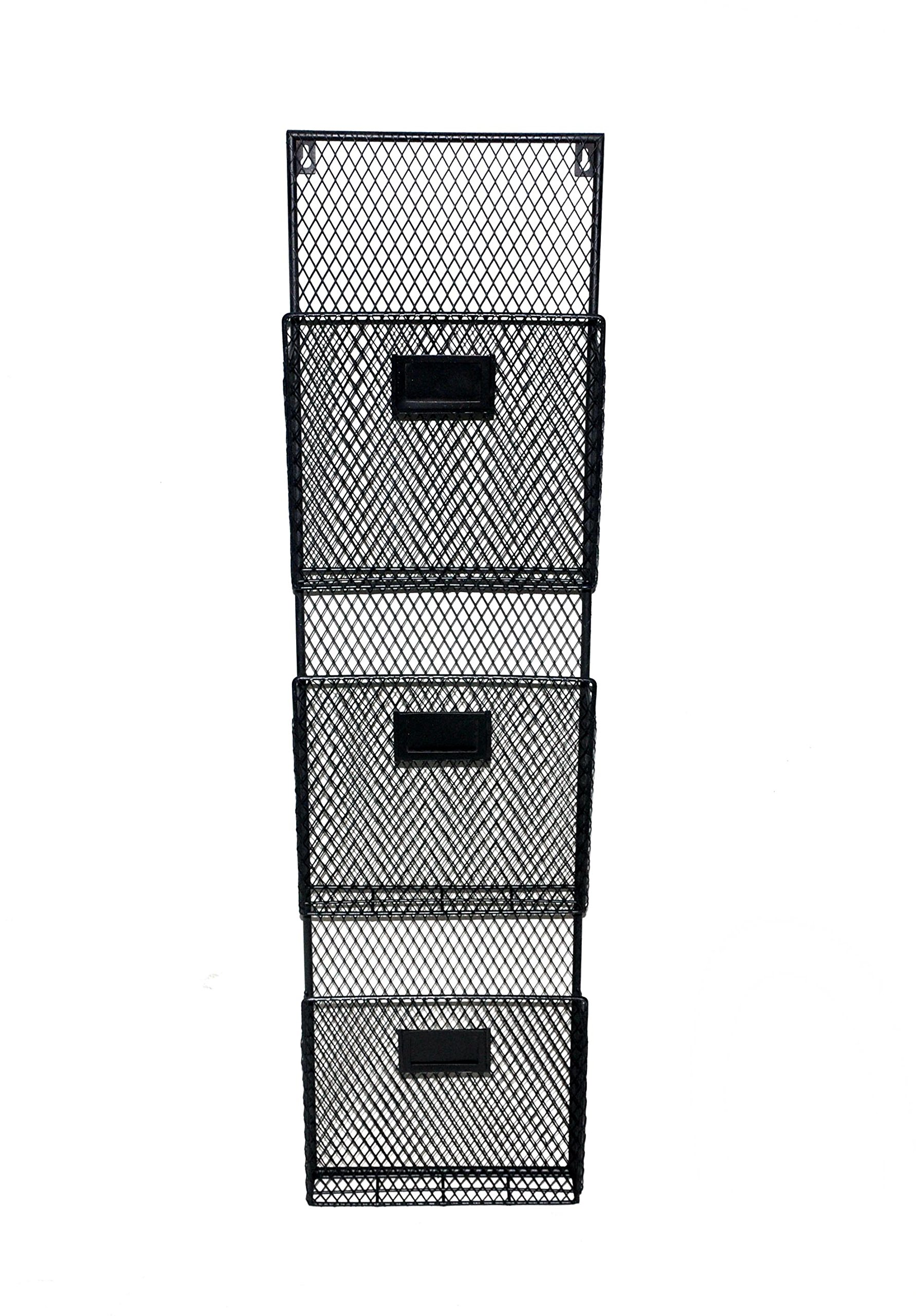 Black 3 Pocket Wall File Holder