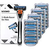 Solimo 5-Blade MotionSphere Razor for Men with Dual Lubrication and Precision Trimmer, Handle & 16 Cartridges (Cartridges fit Solimo Razor Handles only)