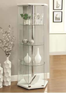 Amazon.com: Coaster Modern Contemporary Glass Curio Cabinet with ...