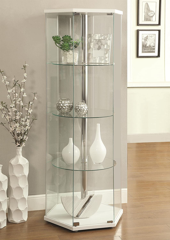 Amazon.com: Coaster 950001 Home Furnishings Curio Cabinet, White: Kitchen U0026  Dining