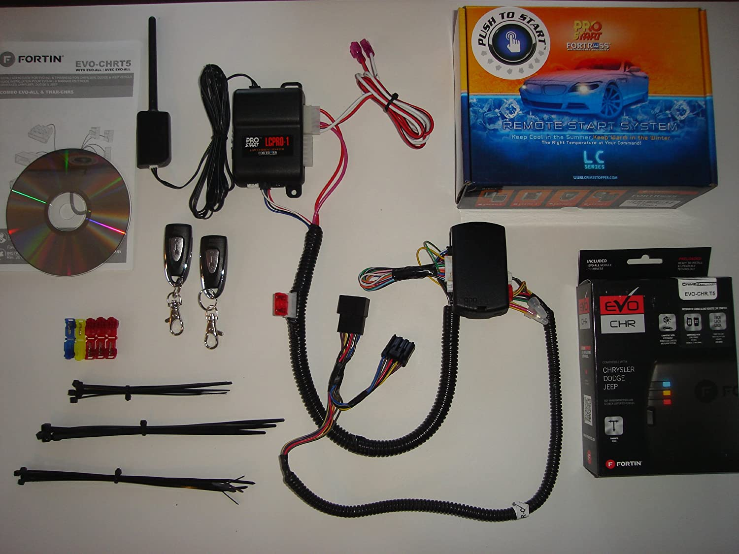 One Button Remote Starter Kit For Jeep Wrangler True 1997 Dodge Caravan Wiring System Plug Play Installation Automotive