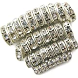TOAOB Pack of 400pcs Mixed sizes Shiny Rhinestones Rondelle Spacer Beads Silver Crystal For Jewelry Making