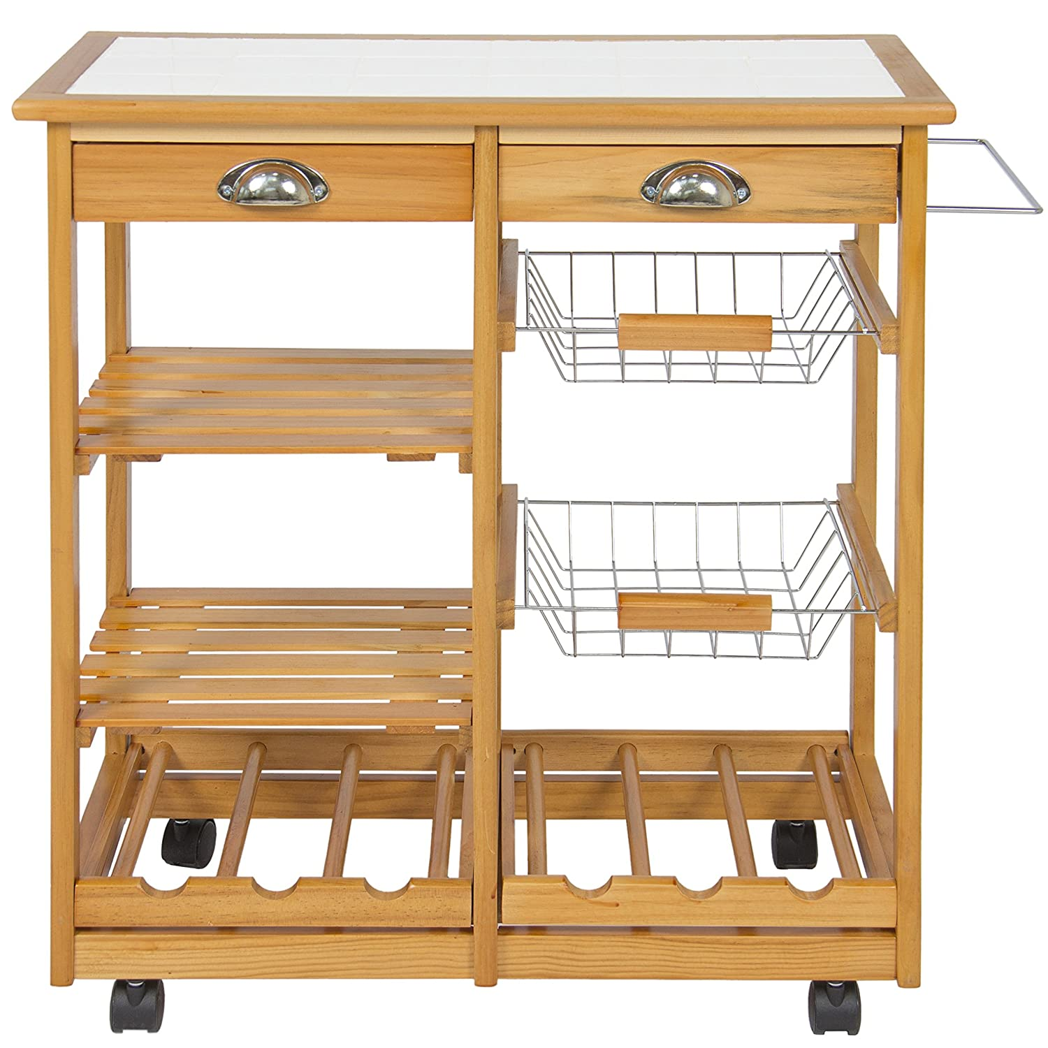 Amazon Best Choice Products Wood Kitchen Storage Cart Dining