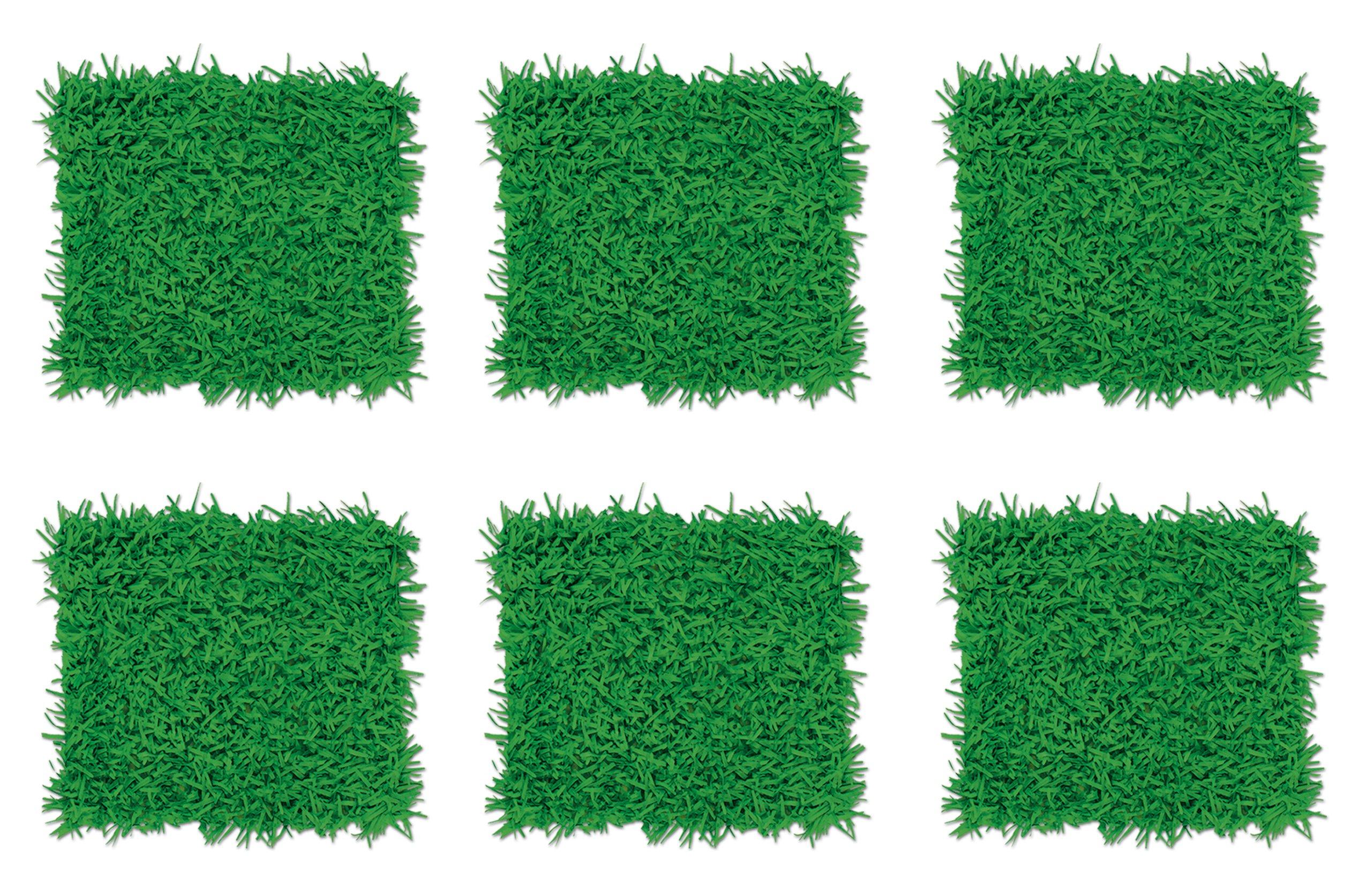 Beistle S55640AZ6 Tissue Grass Mats 6 Piece, 15'' x 30'', Green