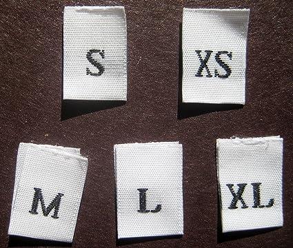 125 pcs WOVEN CLOTHING LABELS SIZE TAGS WHITE - XS SML XL (25pcs each)